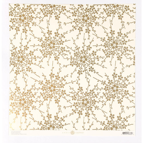 Anna Griffin - Honoka Collection - 12 x 12 Foiled Paper - Ivory Blossom
