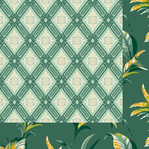 Anna Griffin - Palmer Collection - 12 x 12 Double Sided Paper - Pineapple Harlequin - Turquoise