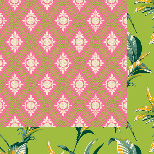 Anna Griffin - Palmer Collection - 12 x 12 Double Sided Paper - Pineapple Harlequin - Pink