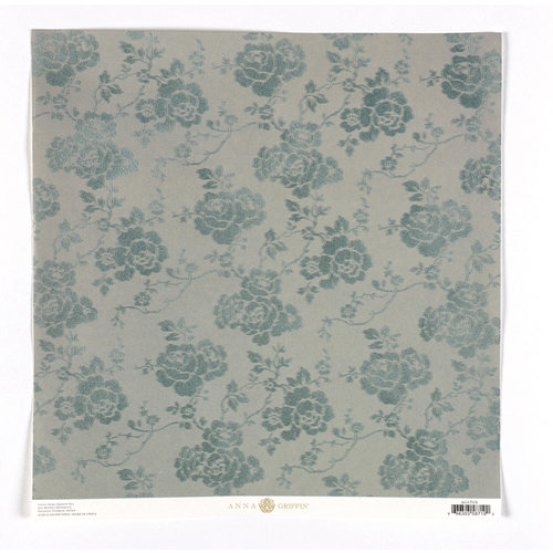 Anna Griffin - Haven Collection - 12 x 12 Flocked Paper - Floral - Blue