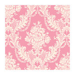 Anna Griffin - 12 x 12 ivory Flocked Paper - Damask