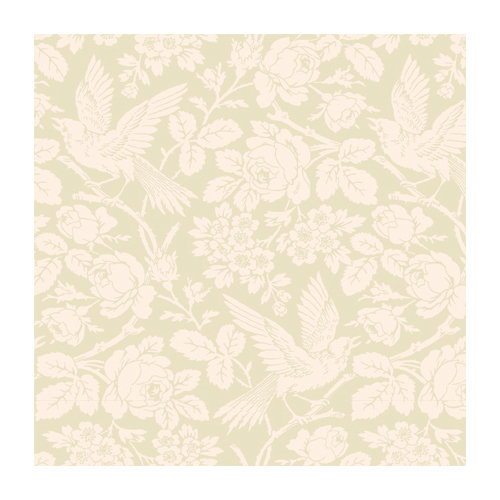 Anna Griffin - 12 x 12 Ivory Flocked Paper - Ivory