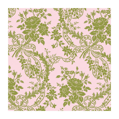 Anna Griffin - 12 x 12 Green Flocked Paper - Floral - Pink