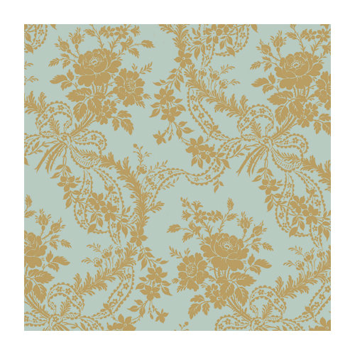 Anna Griffin - 12 x 12 Gold Flocked Paper - Blue