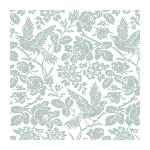 Anna Griffin - 12 x 12 Blue and Grey Flocked Paper - Ivory