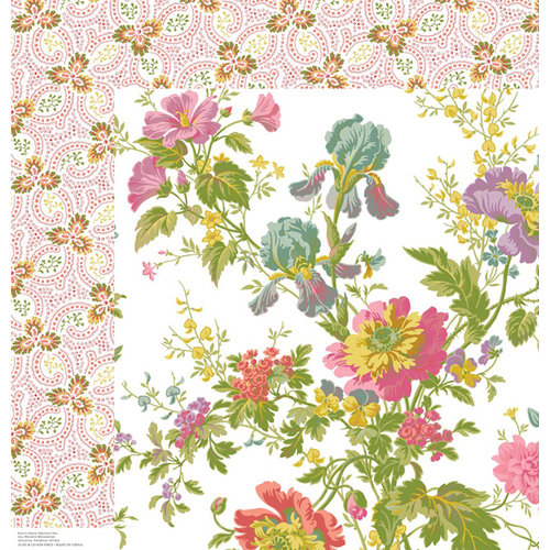 Anna Griffin - Olivia Collection - 12 x 12 Double Sided Paper - Iris Floral Ivory