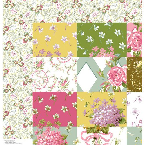 Anna Griffin - Olivia Collection - 12 x 12 Double Sided Paper - Patchwork