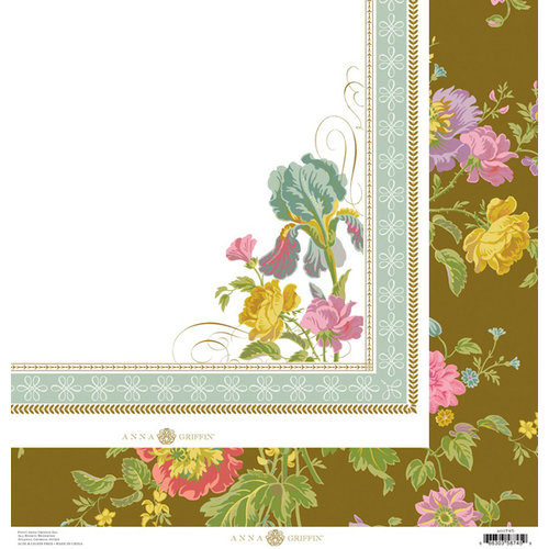 Anna Griffin - Olivia Collection - 12 x 12 Double Sided Paper - Iris Floral Brown