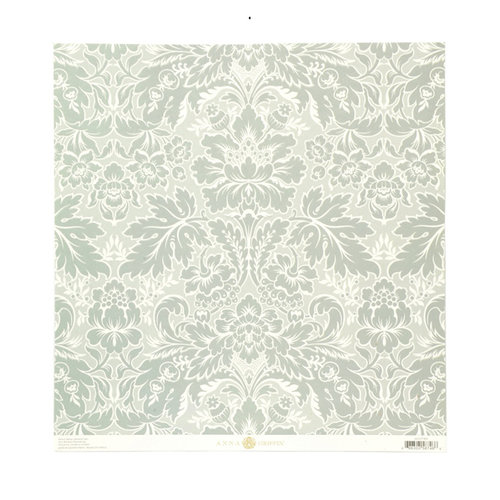 Anna Griffin - Olivia Collection - 12 x 12 Embossed Paper - Acanthus Blue
