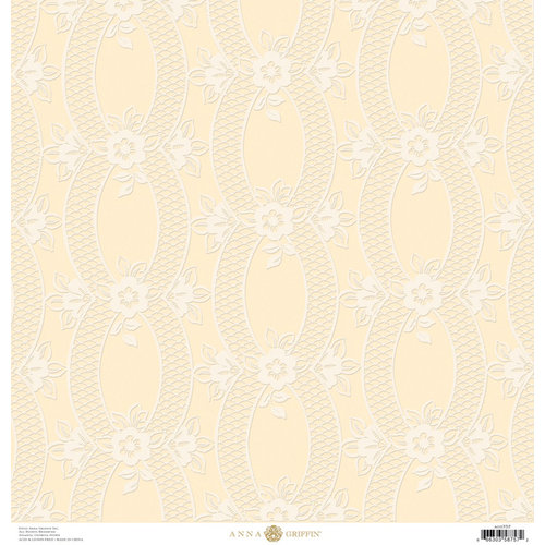 Anna Griffin - Eleanor Collection - 12 x 12 Flocked Paper - Cream