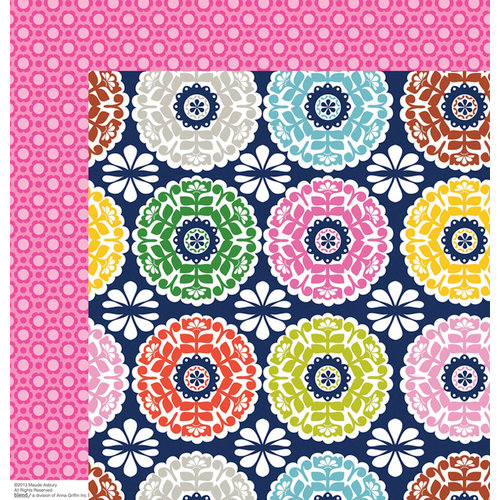 Anna Griffin - Gabbie Collection - 12 x 12 Double Sided Paper - Kaleidoscope Navy