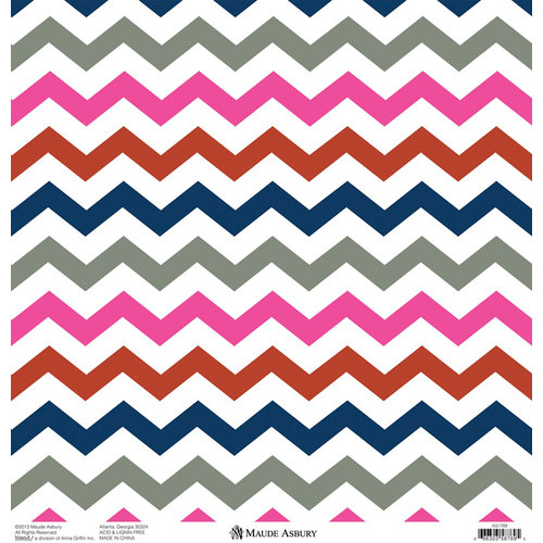 Anna Griffin - Gabbie Collection - 12 x 12 Silver Foiled Paper - Zig Zag Pink