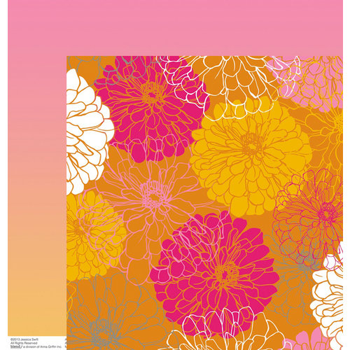 Anna Griffin - Blomma Collection - 12 x 12 Double Sided Paper - Elioso Orange