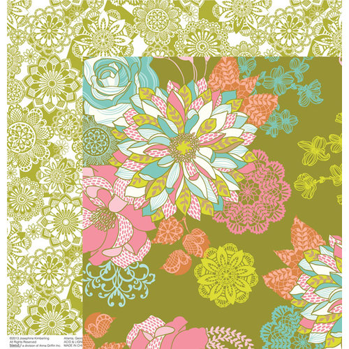 Anna Griffin - Hope Chest Collection - 12 x 12 Double Sided Paper - Floral Olive