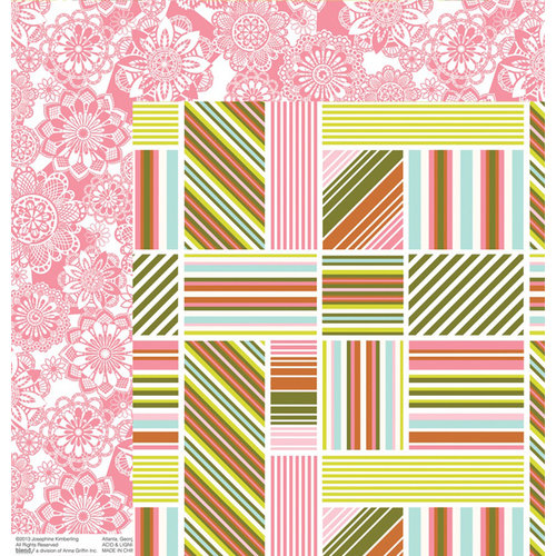 Anna Griffin - Hope Chest Collection - 12 x 12 Double Sided Paper - Stripe Soiree Olive