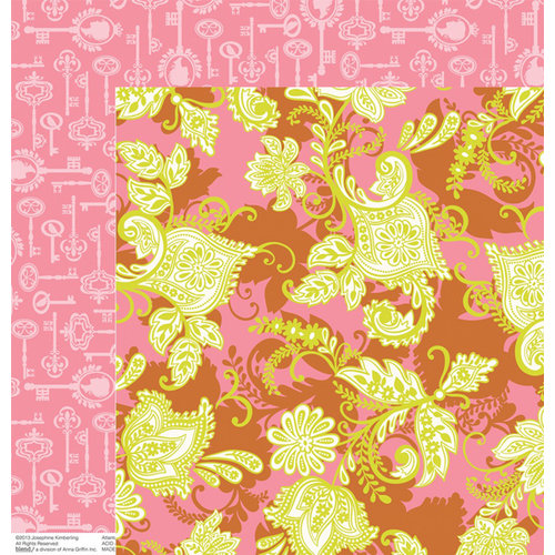 Anna Griffin - Hope Chest Collection - 12 x 12 Double Sided Paper - Flourish Pink