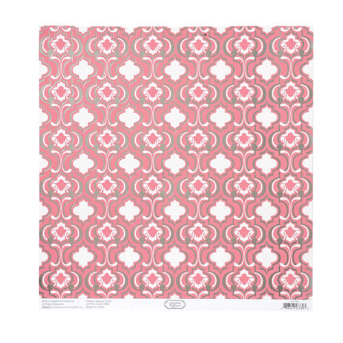 Anna Griffin - Hope Chest Collection - 12 x 12 Silver Foiled Paper - Quatrefoil Pink