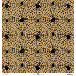 Anna Griffin - Battastic Collection - Halloween - 12 x 12 Paper - Spiderwebs - Kraft