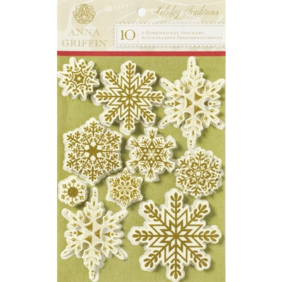 Anna Griffin - Holiday Traditions Collection - Christmas - Glittered 3 Dimensional Stickers - Snowflakes