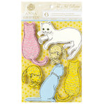 Anna Griffin - Fifi and Fido Collection - Glittered 3 Dimensional Cardstock Stickers - Cats