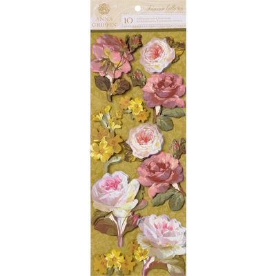 Anna Griffin - Francesca Collection - 3 Dimensional Cardstock Stickers - Floral Art