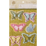 Anna Griffin - Francesca Collection - 3 Dimensional Cardstock Stickers - Butterflies