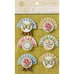 Anna Griffin - Francesca Collection - 3 Dimensional Stickers - Paper Fans