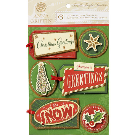 Anna Griffin - Twinkle Bright Collection - Christmas - 3 Dimensional Cardstock Stickers - Tags