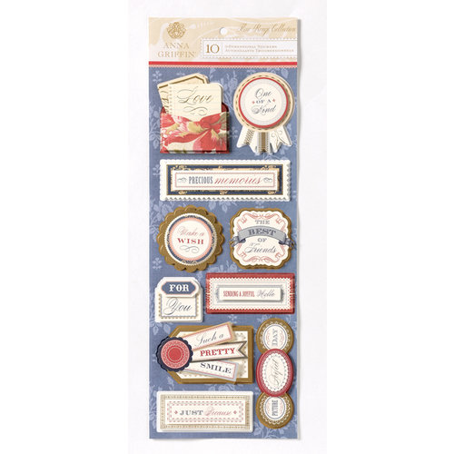 Anna Griffin - Fleur Rouge Collection - Foiled 3 Dimensional Cardstock Stickers - Titles