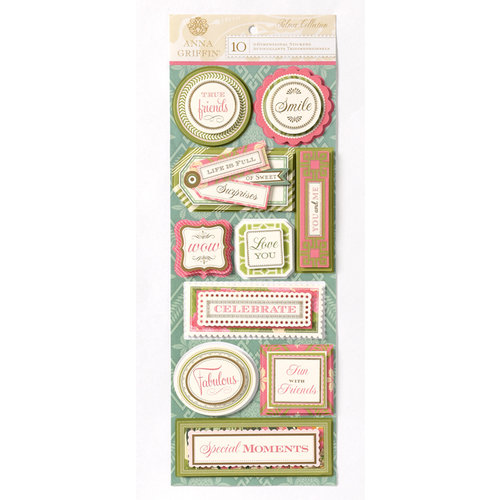 Anna Griffin - Palmer Collection - Foiled 3 Dimensional Cardstock Stickers - Title
