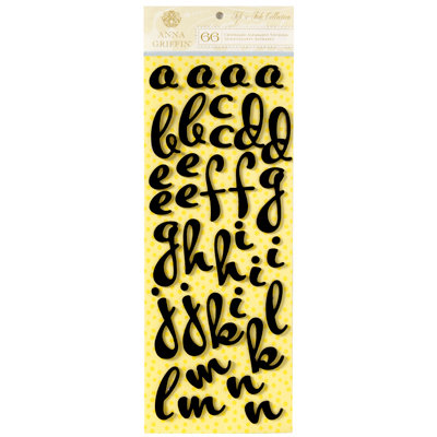 Anna Griffin - Fifi and Fido Collection - Flocked Chipboard Stickers - Alphabet - Black