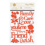 Anna Griffin - Darcey Collection - Flocked Stickers - Words and Icons, CLEARANCE