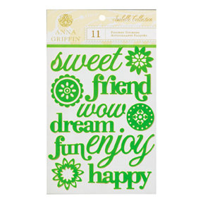 Anna Griffin - Isabelle Collection - Flocked Stickers - Words, CLEARANCE