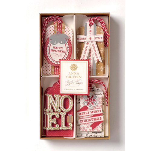 Anna Griffin - Christmas Kraft Collection - 3 Dimensional Gift Tag Set with Foil Accents