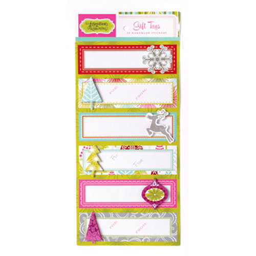 Anna Griffin - Hip Holiday Collection - Christmas - 3 Dimensional Handmade Stickers with Foil Accents