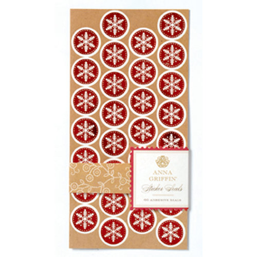 Anna Griffin - Christmas Kraft Collection - Sticker Seals with Foil Accents