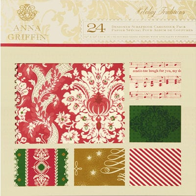 Anna Griffin - Holiday Traditions Collection - Christmas - 12 x 12 Flocked and Glittered Cardstock Pack, CLEARANCE