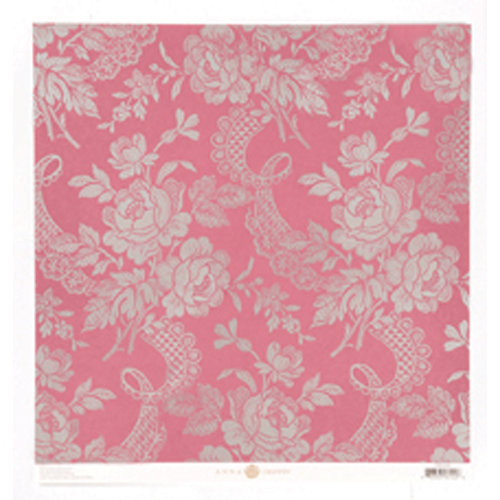 Anna Griffin - Camilla Collection - 12 x 12 Silver Foiled Paper - Pink