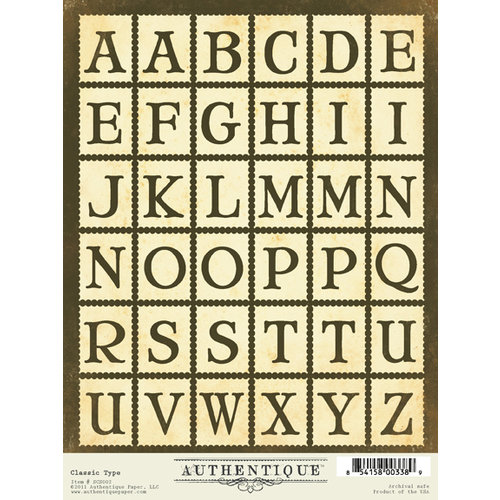 Authentique Paper - Blissful Collection - Cardstock Stickers - Classic Type Alphabet
