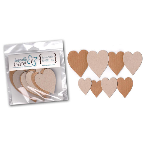 Basically Bare - Basically Embellies - Bare Basics - Cardboard and Chipboard Pieces - Hearts - Set 1