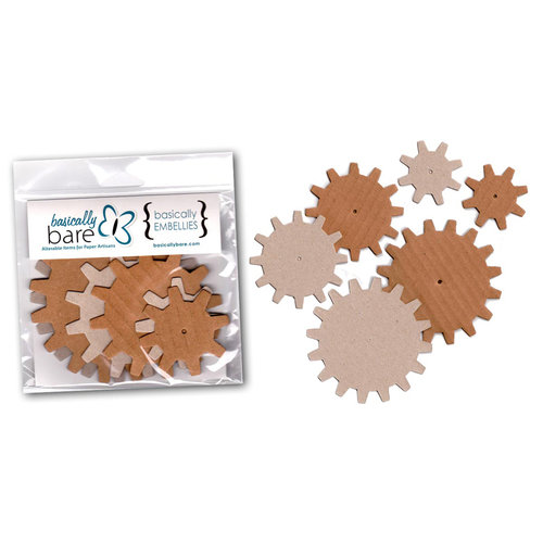 Basically Bare - Basically Embellies - Bare Basics - Cardboard and Chipboard Pieces - Gears - Set 1