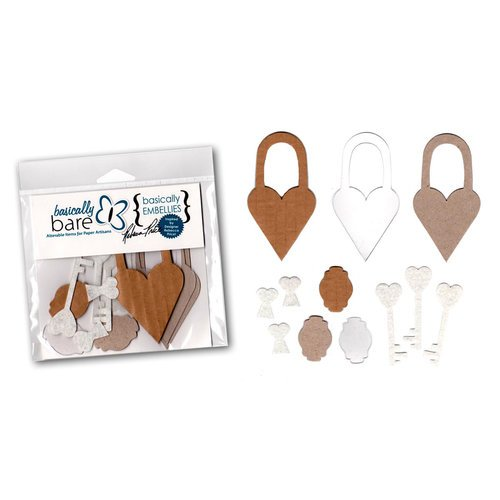 Basically Bare - Basically Embellies - Signature Series - Acrylic Cardboard Chipboard and Felt Pieces - Lovely Locket Set
