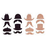 Basically Bare - Basically Embellies - Bare Basics - Chipboard Pieces - Hats and Staches Set