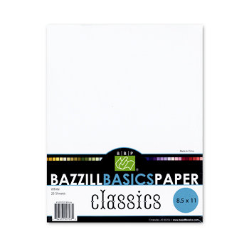 Bazzill Basics - Bulk Cardstock Pack - 25 Sheets - 8.5 x 11 - White