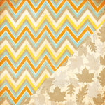 Bazzill Basics - Margie Romney Aslett - Autumn Harvest Collection - 12 x 12 Double Sided Paper - Candy Corn Chevron