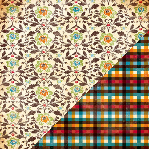 Bazzill Basics - Margie Romney Aslett - Autumn Harvest Collection - 12 x 12 Double Sided Paper - Harvest Brocade