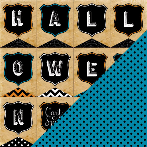 Bazzill Basics - Janet Hopkins - Arsenic and Lace Collection - 12 x 12 Double Sided Paper - Halloween Banners