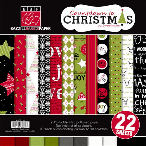 Bazzill Basics - Sweetwater - Countdown to Christmas Collection - 12 x 12 Assortment Pack