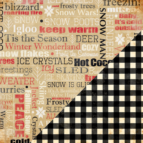 Bazzill Basics - Margie Romney Aslett - Nordic Pins Collection - 12 x 12 Double Sided Paper - Winter Words