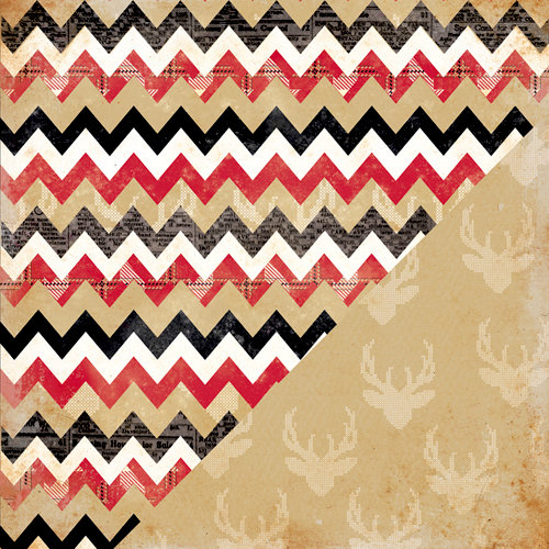 Bazzill Basics - Margie Romney Aslett - Nordic Pins Collection - 12 x 12 Double Sided Paper - Multi Chevron